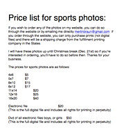 price list for sports photos