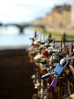 Locks on bridge in Florence Italy