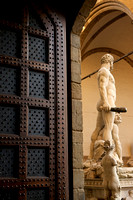 Door and sculpture in Florence Italy