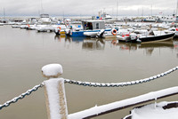 Gimli harbor with snow